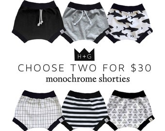 SALE 2-PACK, Bummies, Shorties | Bloomers | Baby Boy Gift | Baby Clothes | Baby Boy | Toddler Shorts | Diaper Cover | Monochrome Shorties