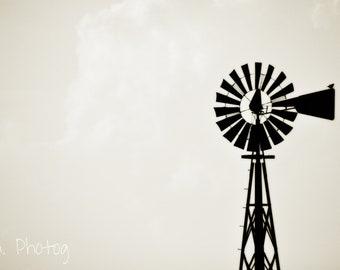 Windmill with Bird- Sepia - Photography - Americana - Farm - Bird - Nostalgic - Farm Photography - Silhouette - 4x6, 5x7, 8x10, 11x14