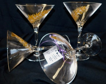 Set of 4 Elegant hand painted Martini glasses in silver and gold.