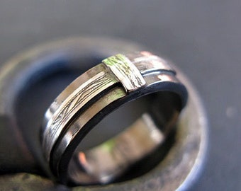 Black Ring with Silver Sideways Cross Ring Cross Band Silver Ring Modern Wedding Band Commitment Ring Mens Wedding Band Unique Wedding Band