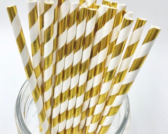 Gold & White Foil Stripe Paper Straws
