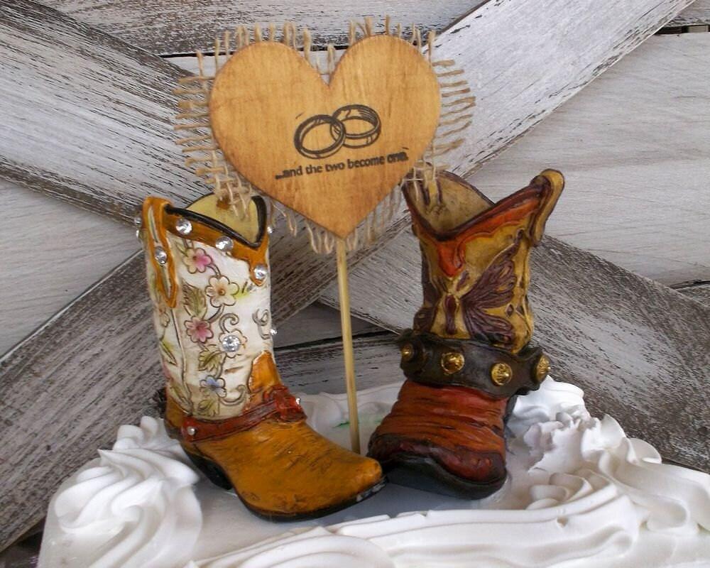 Boot Wedding Cake Topper Cowboy Boot Wedding Cake Topper