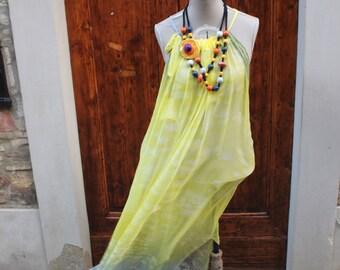 Silk dress hand painted, Silk dress, Long dress, Italian Dress, Made in Italy, Silk fabric, Hand made dress, Yellow Dress