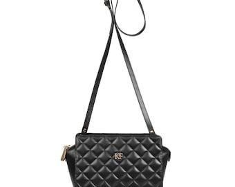 Leather Cross body Bag, Black Leather Shoulder Bag, Women's Leather Crossbody Bag, Leather bag KF-614