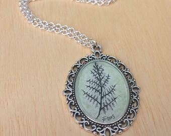 Fern silver tone oval art pendant