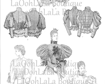 1894 Mutton Sleeve Cupcake Toppers Digital Printable Cake Topper Set of Six 6 Alienist TV Show Costume Party 1890s Victorian Fashion Clipart
