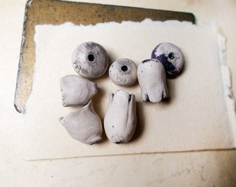 Polymer Clay Beads | 7 Rustic Beads | Rounds, Flower Pod, Rondelle | Grungy Ghost Garden | Off White Primitive | Long Floral, Chunky, Light