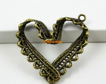 20Pcs Antique Brass Heart Charm Heart Pendant 31mm (PND691)