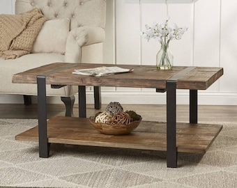 "42"" Wood and Metal coffee table"