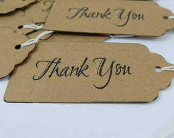 Handmade Thank you tags kraft cardstock scrapbooking tags large hand stamped with string wedding tags