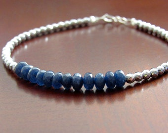 Sapphire bracelet Blue Sapphire September Birthstone bracelet Hematiet bracelet Gemstone bracelet gift women Mother's Day gift