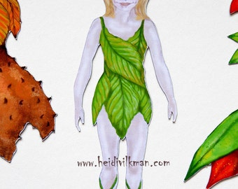 NEW! Magnetic Paper Doll - Forest Fairy - Fairy Paper Doll - Gift Set - With Three Outfits - Handmade