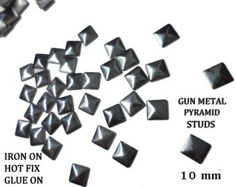 Iron on Gun Metal Pyramid Square Studs for Iron On, Hot Fix Glue On 10 mm