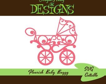 Flourish Baby Buggy SVG