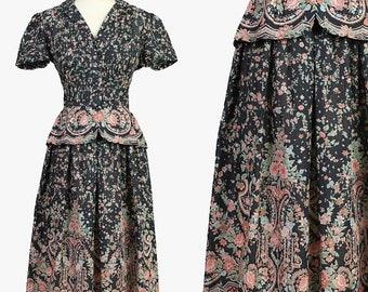 SALE SALE SALE vintage 70s 40s Paisley Border Print floral peplum dress S / wiggle pinup rockabilly tea dress 1970s does 1940s