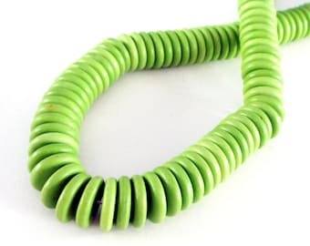 Apple Green Coin Donut Beads - Howlite Round Beads - Flat Disc Gemstone Beads - 12mm - 27 PCS - Center Drilled -  DIY Southwestern Jewelry