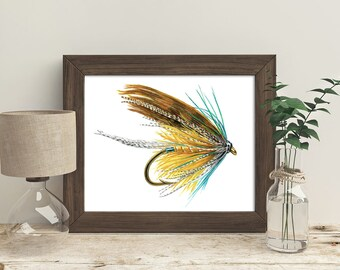 Watercolor Fly, fly fishing art, Fishing Gift for him, Art for Man Cave, fishing fly art, fisher gifts, man cave prints, Fly Fishing Gifts