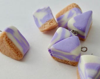 Marbled Glow in the Dark Cheese Cake Charm / Purple Cake / Miniature Food Jewelry / Fimo Jewelry / Polymer Clay / Keychain Planner Charm
