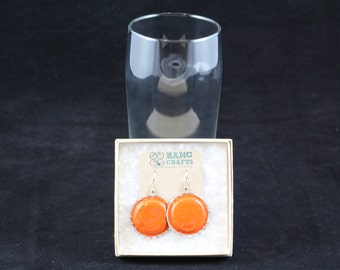 Bottle Cap Earrings (Orange)
