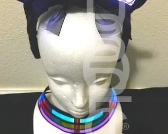 Cyber Light Up Party Costume: Cat Ears / Kitty Ears and LED Collar - Rave Ears - LED Ears  Glow Neck Collar Hatsune Miku Cosplay