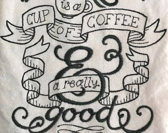 Embroidered tea towel Coffee and a Good Book, flour sack, hostes gift, coffee lover, bookworm, reading gift, customizable gift