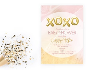 Marble Pink and Gold XOXO Baby Shower Invitation - XOXO - Valentine Shower - Printable