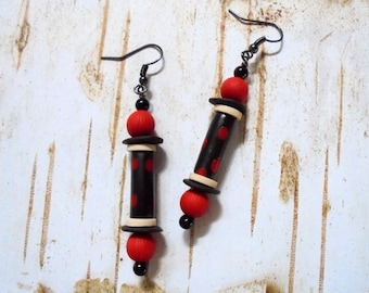 Black, White and Red Spotted Ethnic Boho Earrings (3725)