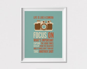 Inspirational print, Quote print, Wall Art, Poster, Life is like a camera Focus on, Wall Decor, Home Decor, ArtFilesVicky