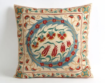 Silk suzani pillow cover 18x18 blue red floral embroidery silk suzani pillow cover