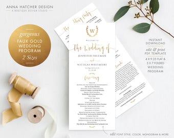 Gold Wedding Program 2 Sizes, Faux Gold Foil Wreath Ceremony Program 4x9.25 Double sided, 5x7 Folded Editable PDF,  DIY printable WED1BDAY