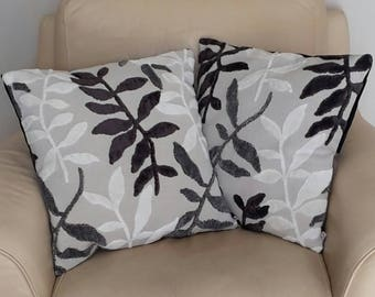 Pillow cover gray and Brown on light taupe colored velvet leaf patterned