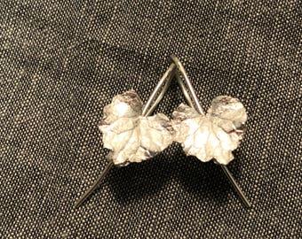 Silver ivy leaf earrings