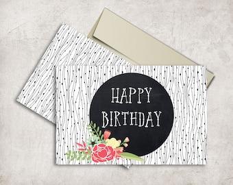 Birthday Card Printable, Floral Birthday Card, Black & White Folded Birthday Card, Printable Birthday Card, Digital File, 5x7