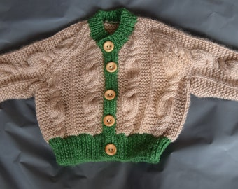 Taupe and green baby cardigan