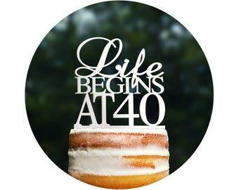Life Begins At 40 Birthday Topper, Elegant 40th Birthday Topper, Fortieth Birthday Cake Topper- (T089)