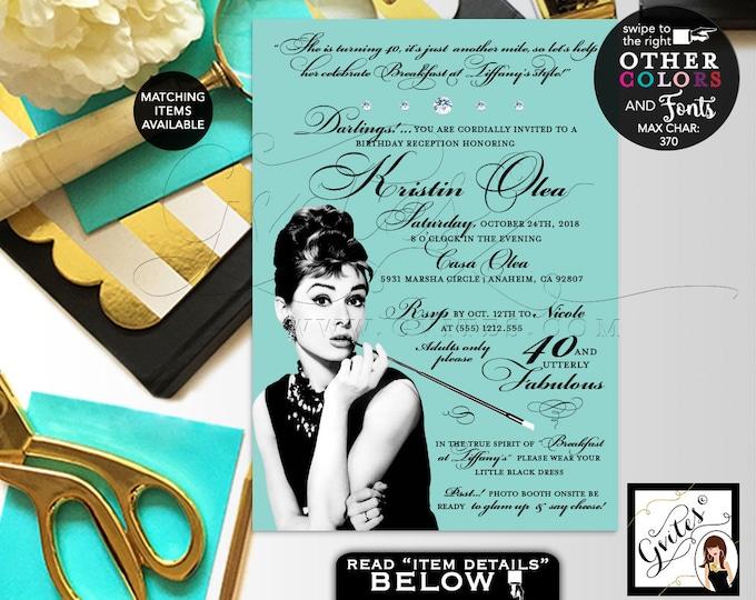"Breakfast at Birthday Invitation, Audrey Hepburn 40th birthday printable invitation, 40 & Utterly fabulous. Digital File. 5x7"" Gvites"