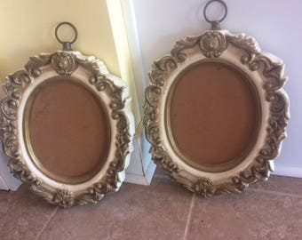 two oval frames vintage ornate