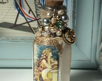 Miniature Mermaid Bottle Ornament Decoration - Decoupaged/Hand Stitched Beading/Glittered