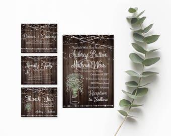 Rustic Mason Jar Wedding Invitations- Rustic Wedding Suite- Mason Jar Wedding Invitations Templates- DIY Printable Wedding Invitation Kit