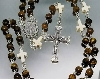 Catholic rosary- silver with brown tigers eye and white howlite crosses