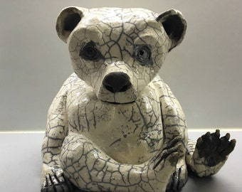 céramic raku Polar bear trophy