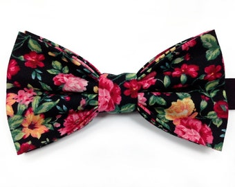 Black Floral Bow Tie, Floral Bow Tie, Multicoloured Bow Tie, Formal Bow Tie, Novelty Bow Tie, Wedding Bow Tie, Designer Bow Tie, Bow Tie