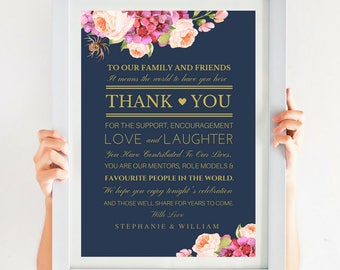 Thank You Card, Wedding Thank You, Navy Blush And Gold Wedding Gift, Pink Wedding Peonies, 4x6 and 5x7, Instant Download, SKU# IDWS502_4113S