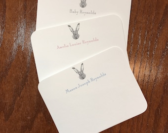 Rabbit baby thank you correspondence cards, boy baby shower thank you notes, girl baby stationery, gender neutral baby thank you