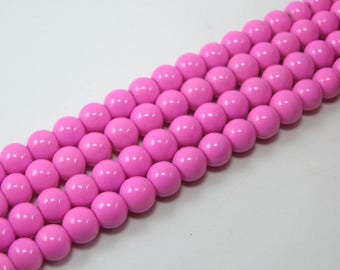 Set of 20 6 mm glass beads bright pink M