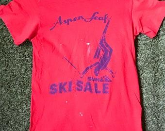 1970s-1980s Aspen Leaf Ski T-shirt - Size Small