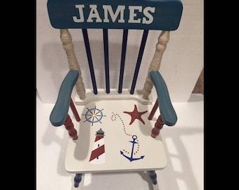 Nautical nursery - Nautical baby - Nautical rocking chair - Nautical gift
