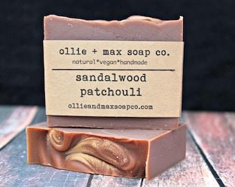 Sandalwood Patchouli Soap, Cold Process Soap, Vegan Soap