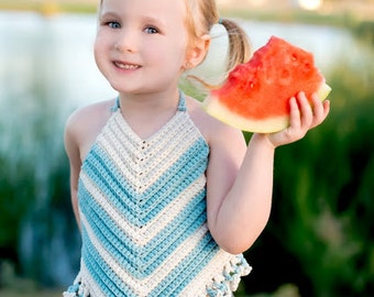 Crocheted Summer Halter Baby, Toddler  V Stitch Backless