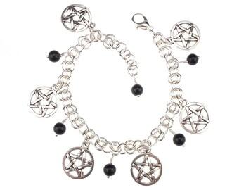 Pentagrams & Gemstones Bracelet